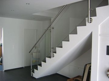 Reliable Stainless Steel Balustrade Systems , Side Mounted Glass Stair Railing