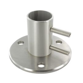China Tubular Stainless Steel Railing Components , Round Handrail Base Flange factory